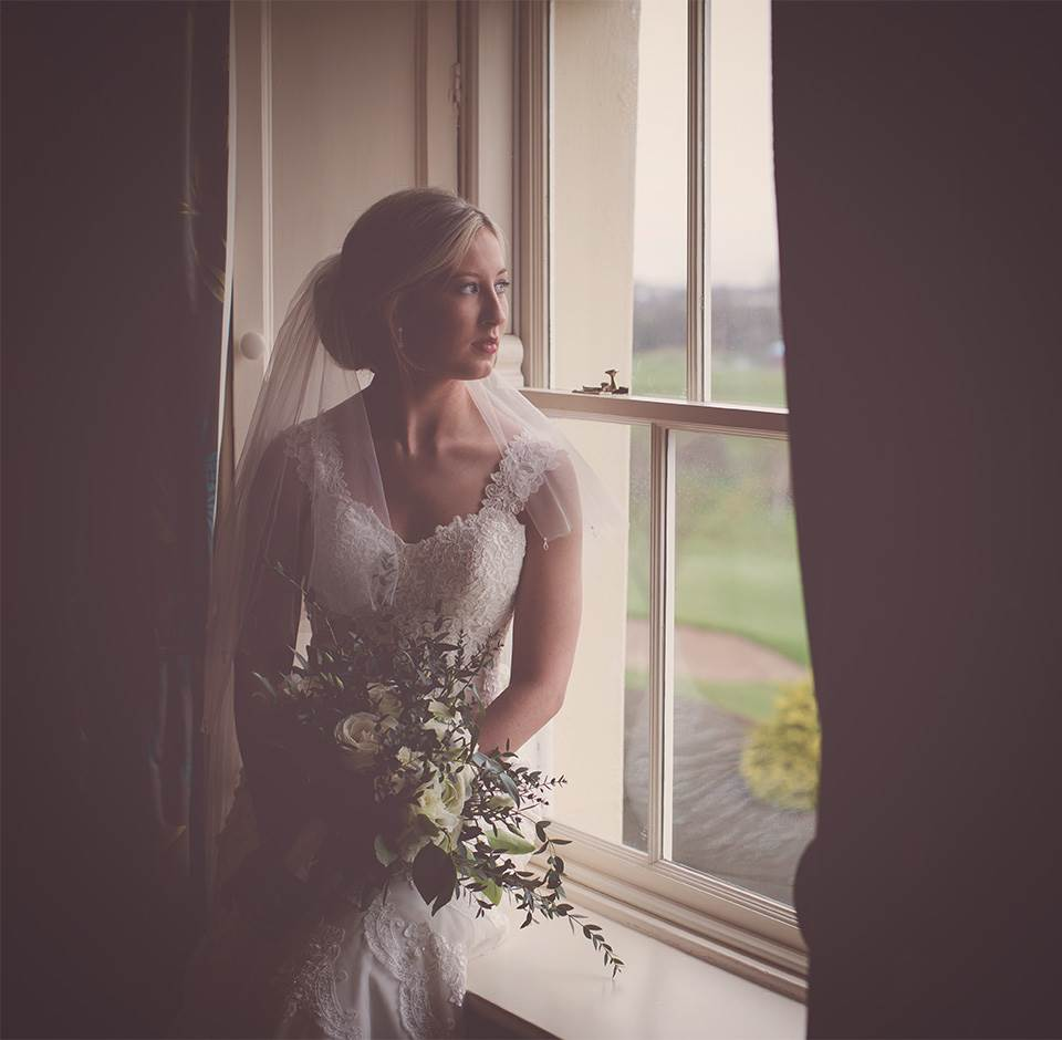 Bride at Roe Park Wedding Venue
